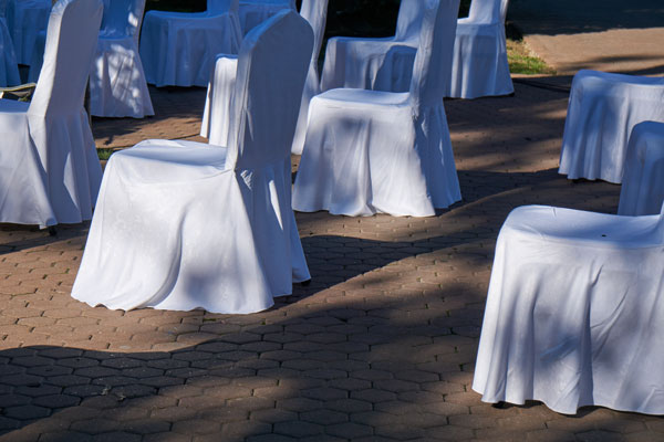 Chairs Spaced For Social Distancing At Weddings