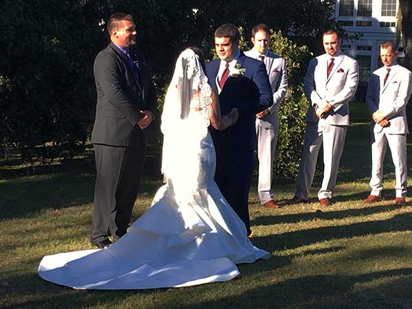 Luciana And Ty Exchange Vows During Their Wedding Ceremony Wachesaw Plantation