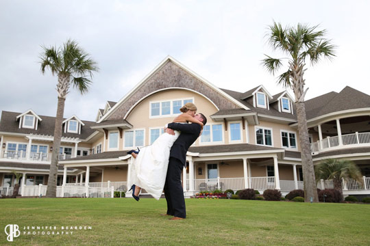 Seabrook Island Club Bride Groom In Front Of Club
