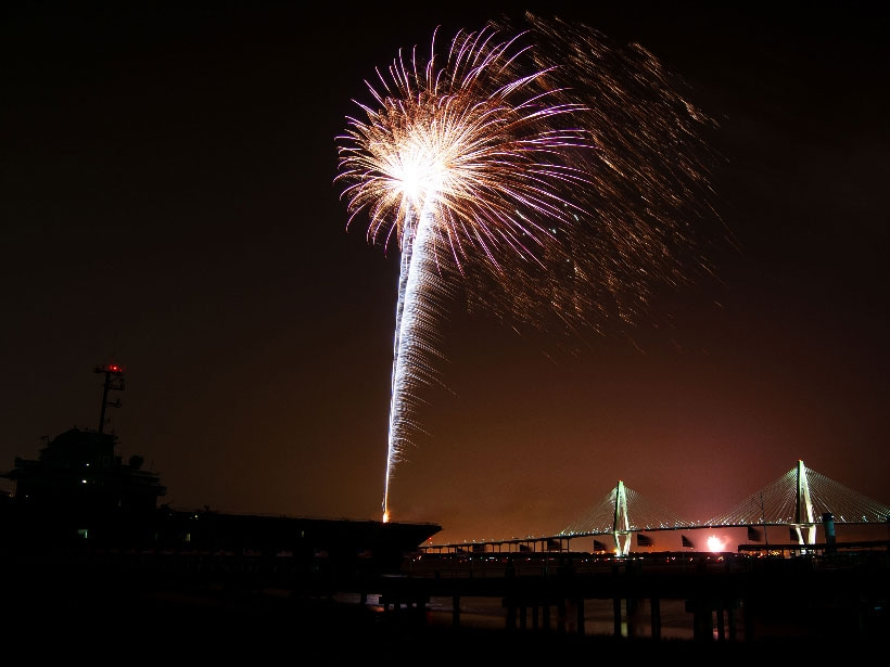 If you travel to Charleston during the 4th Of July timeframe, hop on a boat and watch the fireworks go up over the Ravenel Bridge