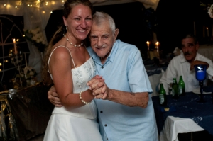 Bride And Grandfather Dancing At Her Reception - Folly Beach