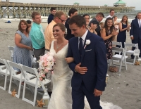 One of the happiest couples I have seen! Melissa & Brock smiling ear to ear after their ceremony at the Tides Hotel On Folly Beach